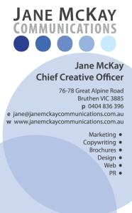 Jane McKay Communications business card